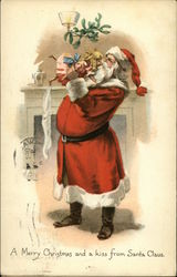 A Merry Christmas and a kiss from Santa Claus Postcard