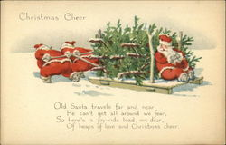 Christmas Cheer, Old Santa Travels far and Near he can't get all Around we Fear Postcard