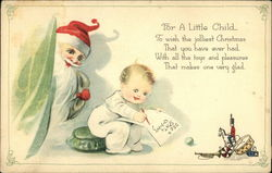 "Santa Spying on Infant Writing ""Dear Santa"" Letter Postcard"
