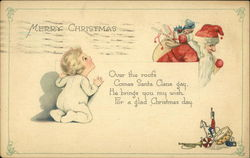 Merry Christmas, Over the Roofs Comes Santa Claus Gay He Brings you my Wish Postcard
