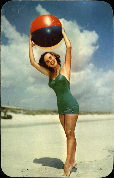 Play Ball on Florida's Lovely Beaches Swimsuits & Pinup