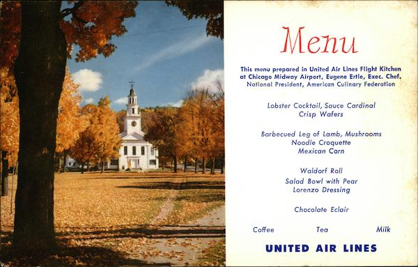 United Air Lines Menu - Fall in New England Advertising