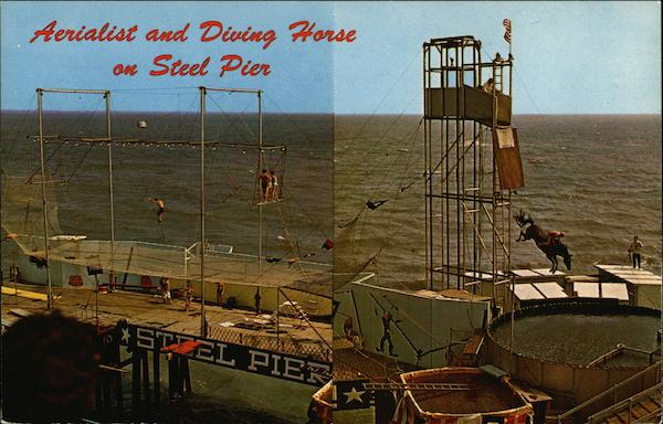 Aerialist and Diving Horse on Steel Pier Atlantic City New Jersey