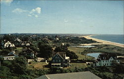 View of East Beach, Maschaug Pond and Elegant Summer Homes, Everett Avenue, Niantic Avenue