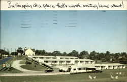 I'm Stopping at a Place That's Worth Writing Home About! - Thoroughbred Motor Court Postcard