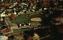 Bird's Eye View of North Conway, N.H., With Conway Scenic Railroad's Train Ready to Depart
