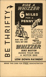 Be Thrifty -> Ride a Whizzer Postcard