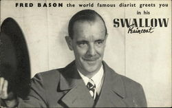 Fred Bason the World Famous Diarist Greets you in his Swallow Raincoat