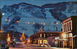 Winter Evening View of Town and Aspen Mountain