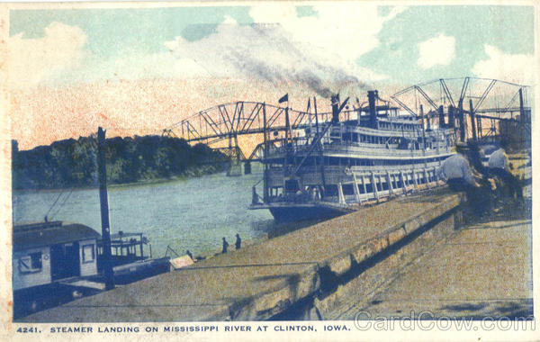 Steamer Landing On Mississippi River At Clinton Iowa