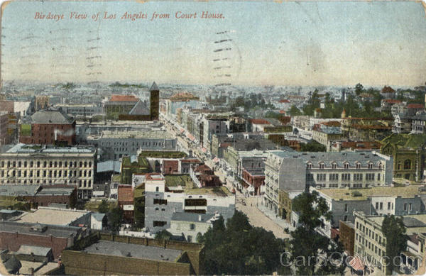 Birdseye View Of Los Angeles From Court House California