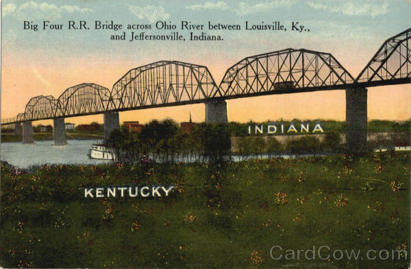 Big Four R.R. Bridge Across Ohio River Trains, Railroad