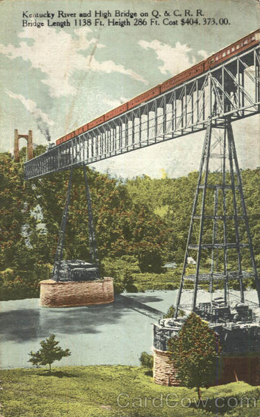 Kentucky River And High Bridge On Q. & C. R. R Trains, Railroad