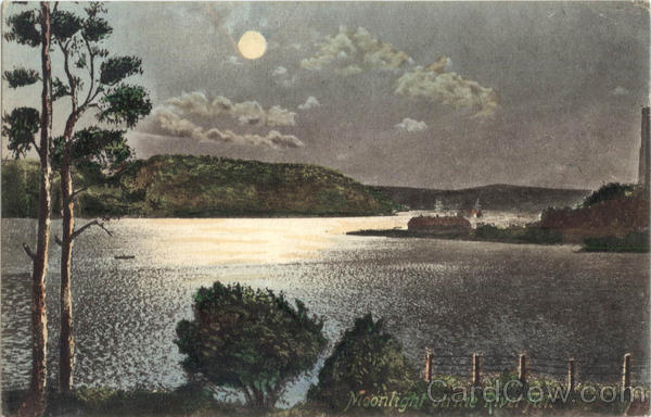 Moonlight On The River Fal. Cornwall England