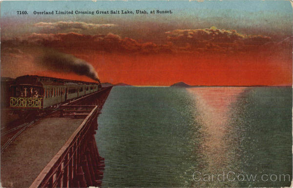 Overland Limited Crossing Great Salt Lake At Sunset Utah