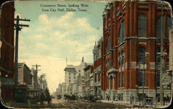 Commerce Street, Looking West from City Hall Dallas Texas