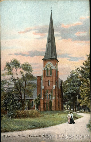 Ladies Strolling in front of Episcopal Church Cornwall New York