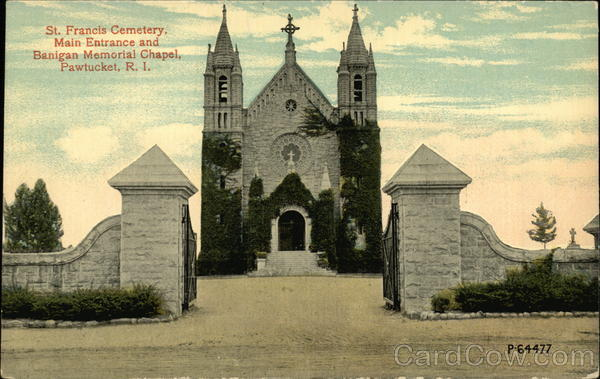 St. Francis Cemetery, Main Entrance and Benigan Memorial Chapel Pawtucket Rhode Island
