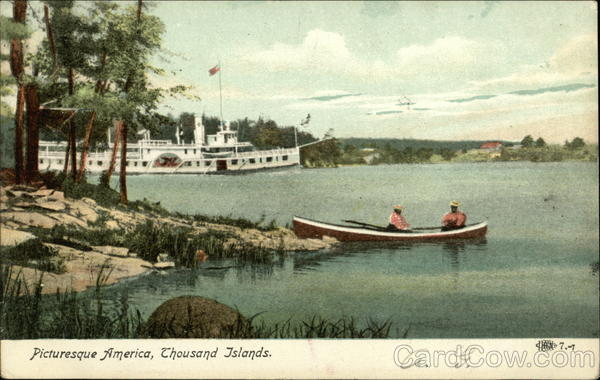 Picturesque America, Steamboat on River Thousand Islands New York