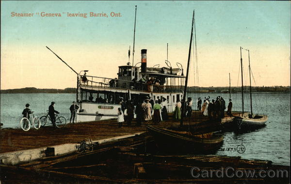 Steamer Geneva Leaving Port Barrie Canada Ontario