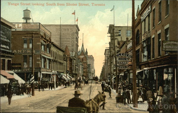 Younge Street Looking South From Shuter Street Toronto Canada