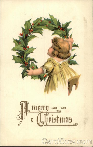A Merry Christmas with Little Girl in Yellow Hanging a Holly Wreath