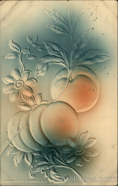 Embossed Branch of Peaches Fruit