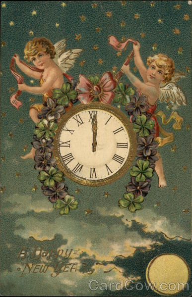 A Happy New Year with Cherubs and Clock New Year's