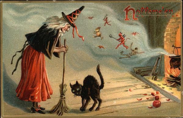 Witch Holding Broom and Black Cat Halloween