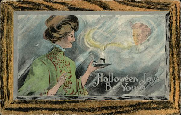 Woman Holding Candle Showing Man's Head Halloween