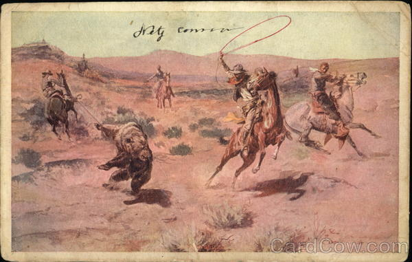 Four Cowboys On HorseBack Lasso A Bear Charles Marion Russell