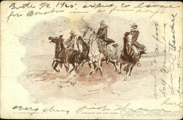 Four Cowboys Ride Galloping Horses Charles Marion Russell