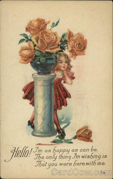 A girl standing behind a flower vase Flowers
