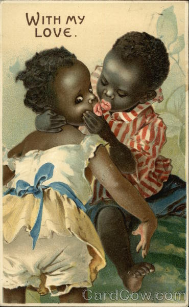 Two Black Children Kissing Black Americana