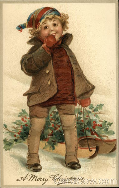 A Merry Christmas with Child pulling a sled full of Holly Branches