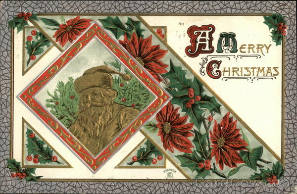 A Merry Christmas - Gold Embossed Santa and Red Poinsettias