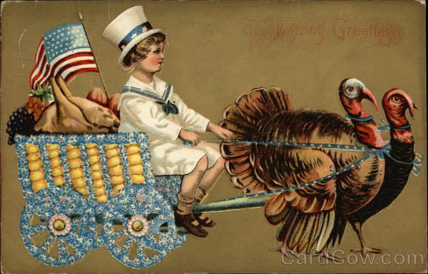 Turkeys Pulling Cart Driven by Boy in Top Hat Patriotic