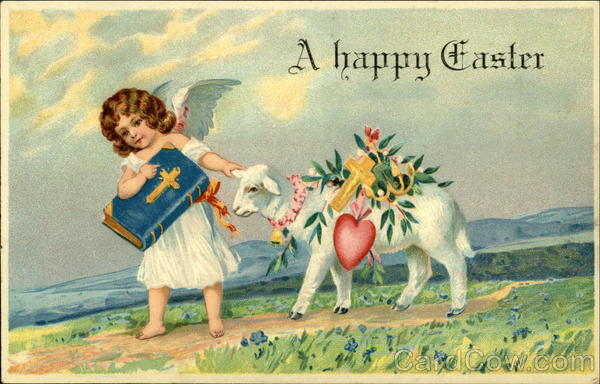 A Happy Easter with Angel Leading Lamb With Angels