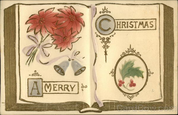 A Merry Christmas with Embossed Book of Poinsettias and Holly