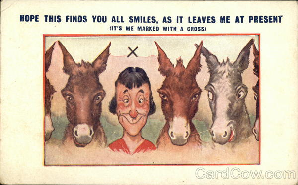 Man Poses With Several Donkeys To Send Greetings Comic, Funny