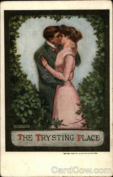 The Trysting Place - Kissing Couple under an Ivy Heart