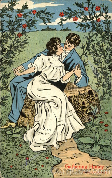 Gathering Honey - Couple Embracing on Rock under Flowering Vines