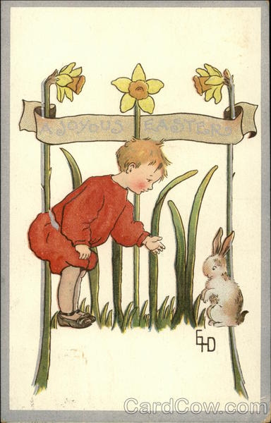 A Joyous Easter - Child with Bunny With Children