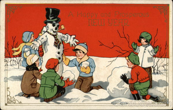 A Happy and Prosperous New Year C-314 Snowmen
