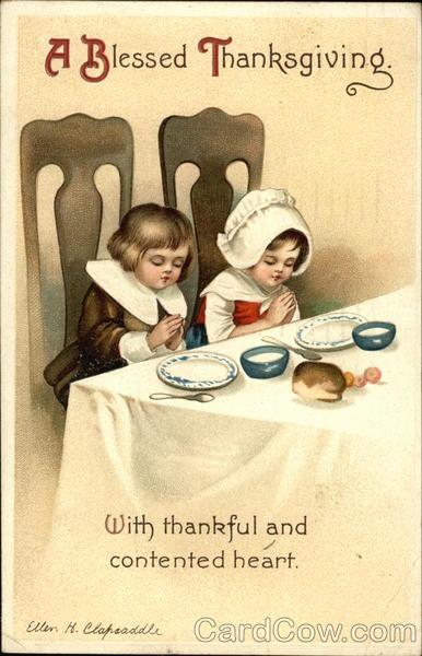 Two Children Praying At Dinner Table Ellen Clapsaddle