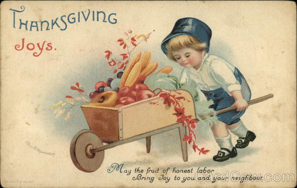 Thanksgiving Joys with Pilgrim Boy and Vegetable Cart