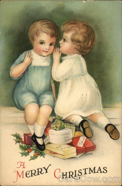 A Merry Christmas with Young Boy and Young Girl Whispering over Gifts