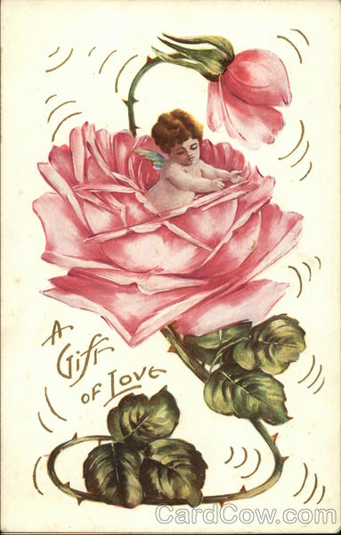 A Gift of Love with Cherub inside a Pink Rose Romance & Love