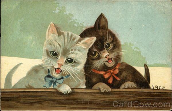 Gray Kitten with Blue Bow and Brown Kitten with Red Bow