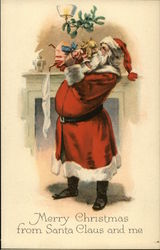 Santa Delivering Doll to Stocking on Fireplace Postcard